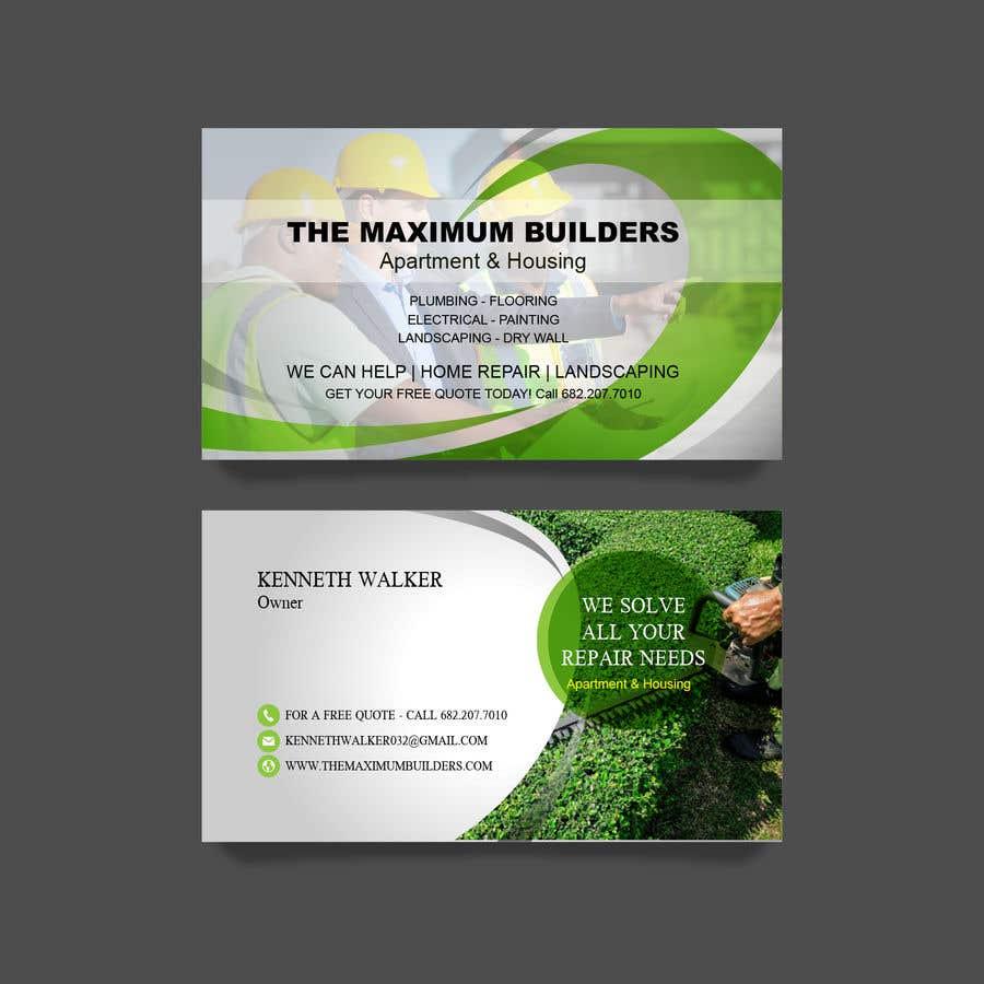 Kilpailutyö #65 kilpailussa design double sided business cards - construction