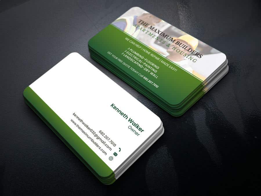 Kilpailutyö #32 kilpailussa design double sided business cards - construction
