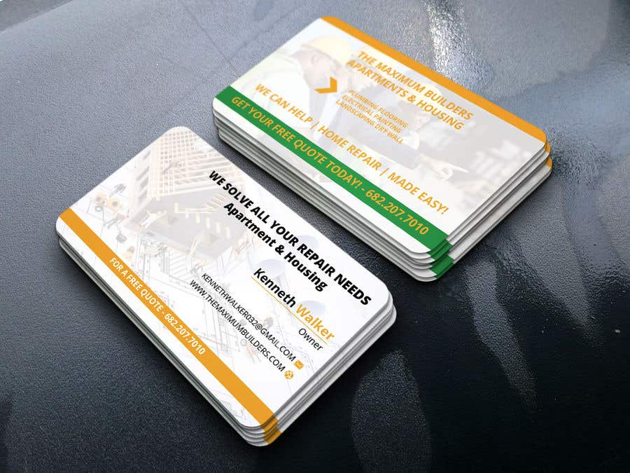 Kilpailutyö #19 kilpailussa design double sided business cards - construction