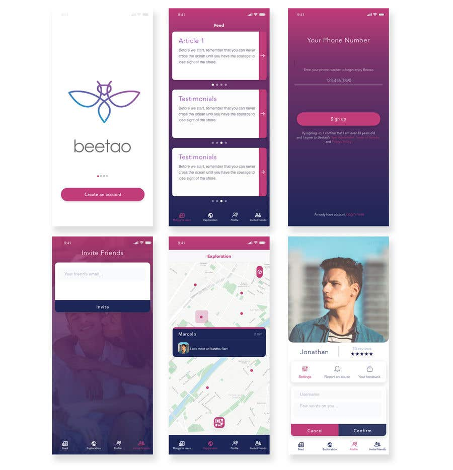 Entry #9 by JuliaKampf for UI/UX for a dating app   Freelancer