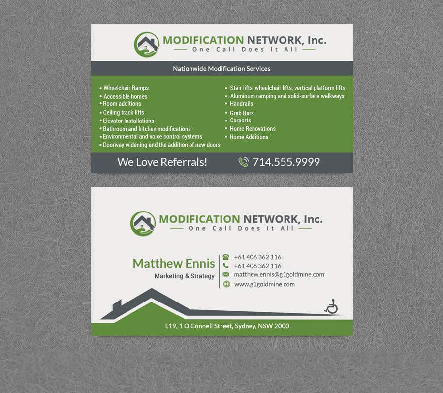 Konkurrenceindlæg #135 for Business card for a handicap home modification construction company