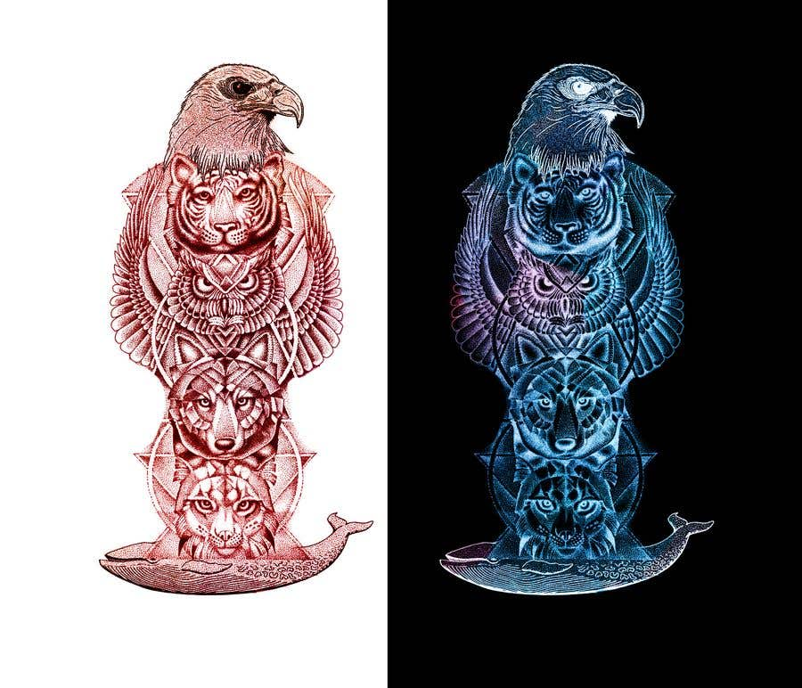 Proposition n°25 du concours I need an artist to draw tattoo sleeves of animals.