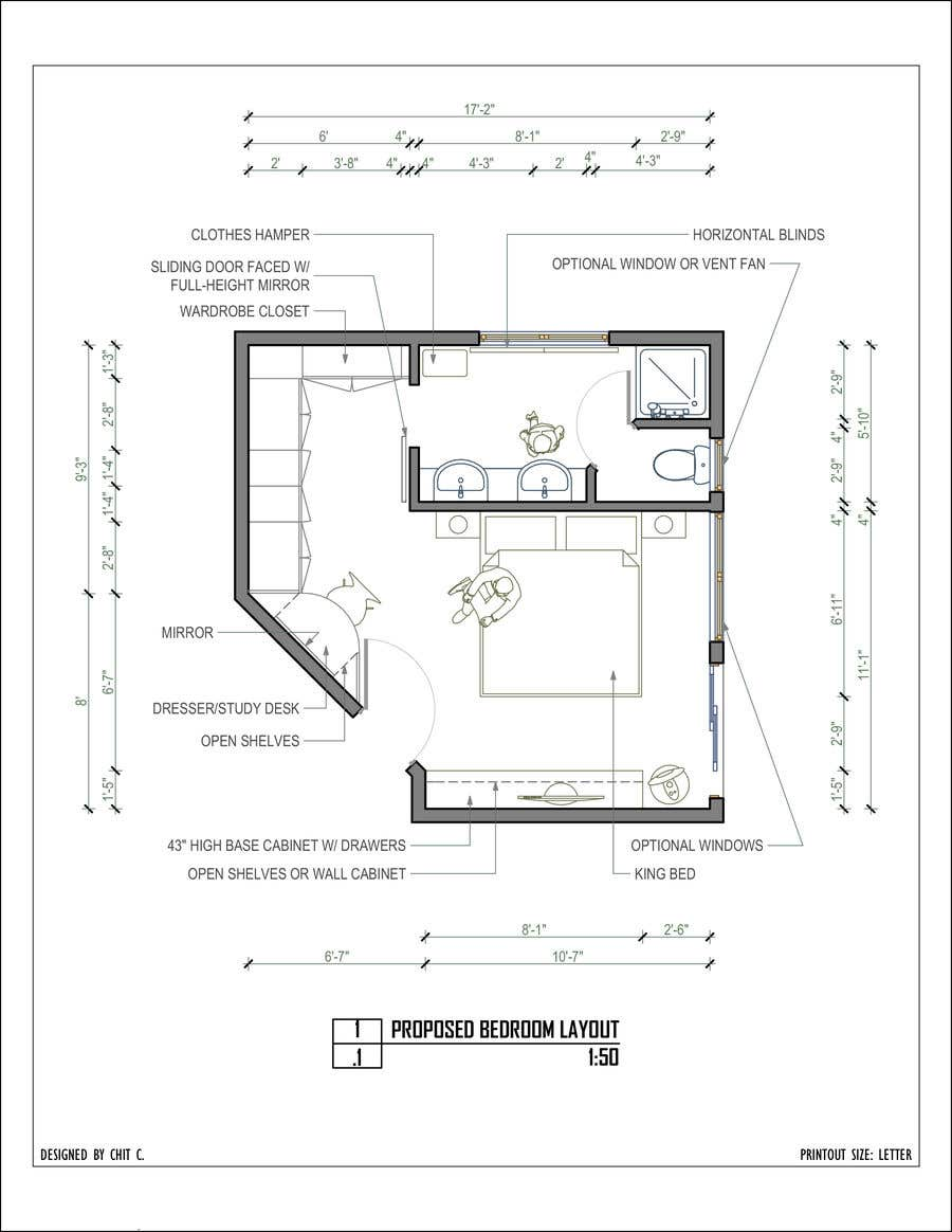 Konkurrenceindlæg #20 for Master bedroom reconfiguration to add ensuite