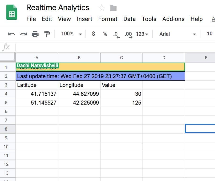 Create a script to retrieve realtime data to Google sheets using