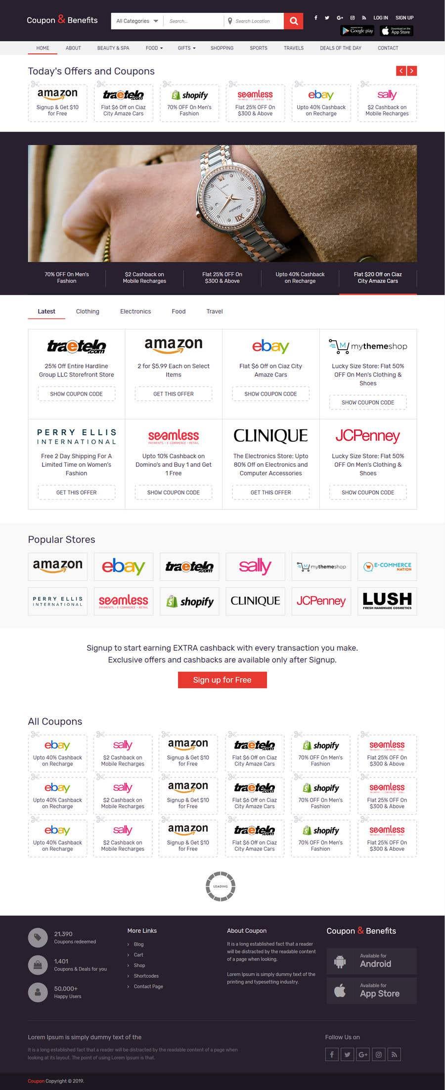 Kilpailutyö #17 kilpailussa UX concept for responsive website for Coupons & Benefits