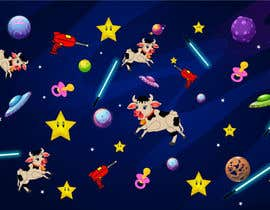 #16 untuk Create a seamless pattern of baby cows floating in space with background items oleh sooofy