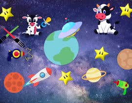 #3 untuk Create a seamless pattern of baby cows floating in space with background items oleh princefaiq01