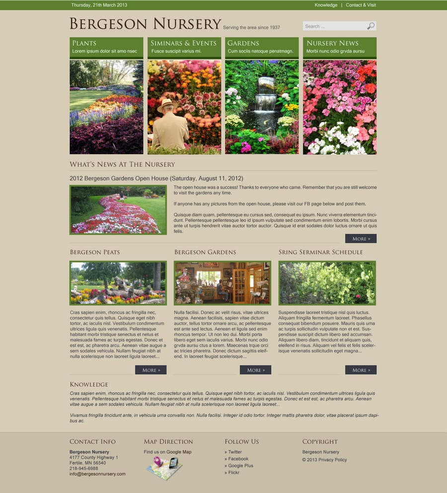 #5 for Design Inspiration for Bergeson Nursery Website by antonyngo