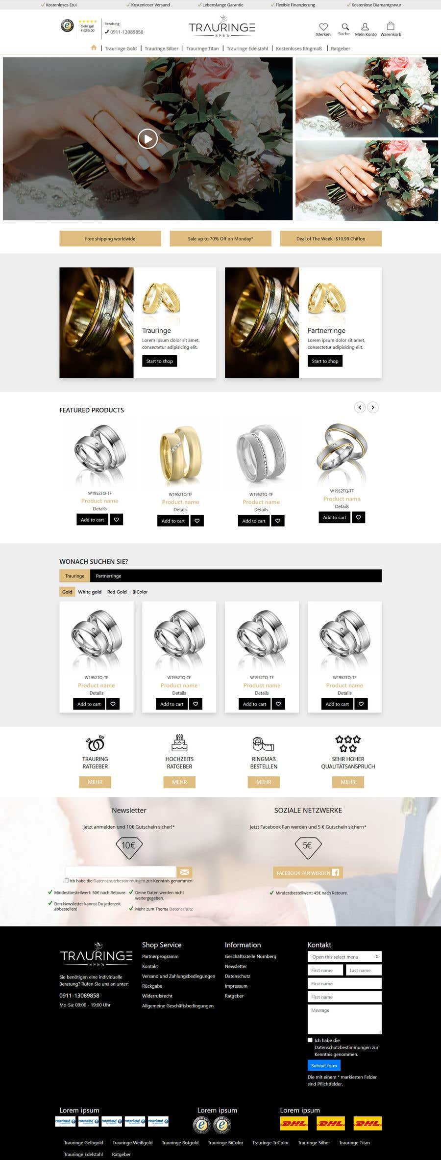 Konkurrenceindlæg #31 for Design Landingpage for Wedding Onlineshop