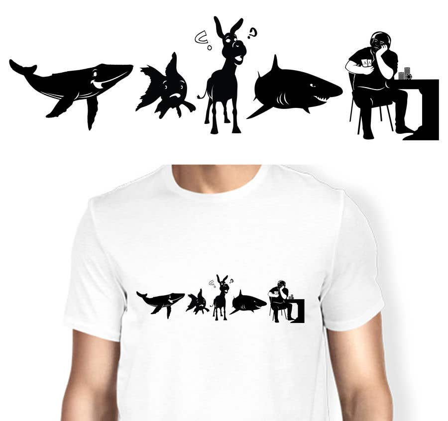 Penyertaan Peraduan #65 untuk Illustration for T-Shirt: Evolution of a Poker Player (From Whale to Shark to Poker Player Using a Different Animals)