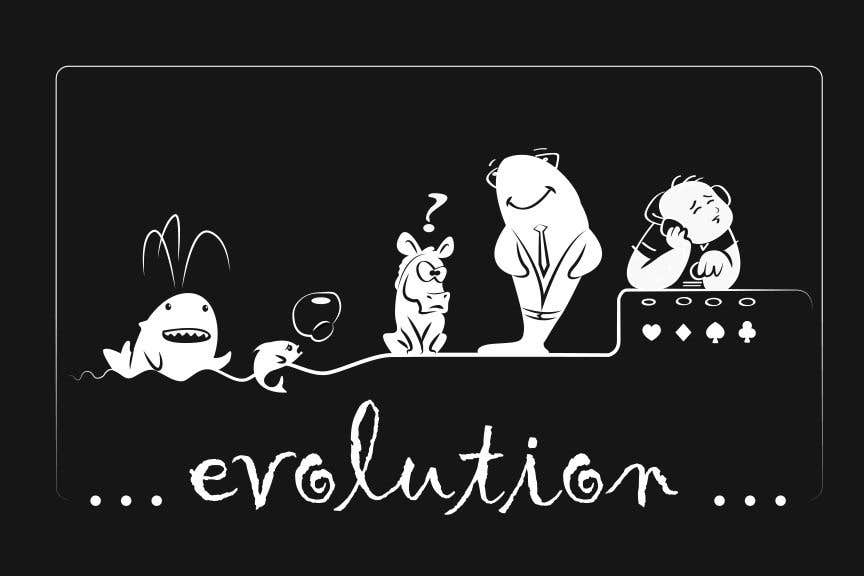 Penyertaan Peraduan #49 untuk Illustration for T-Shirt: Evolution of a Poker Player (From Whale to Shark to Poker Player Using a Different Animals)