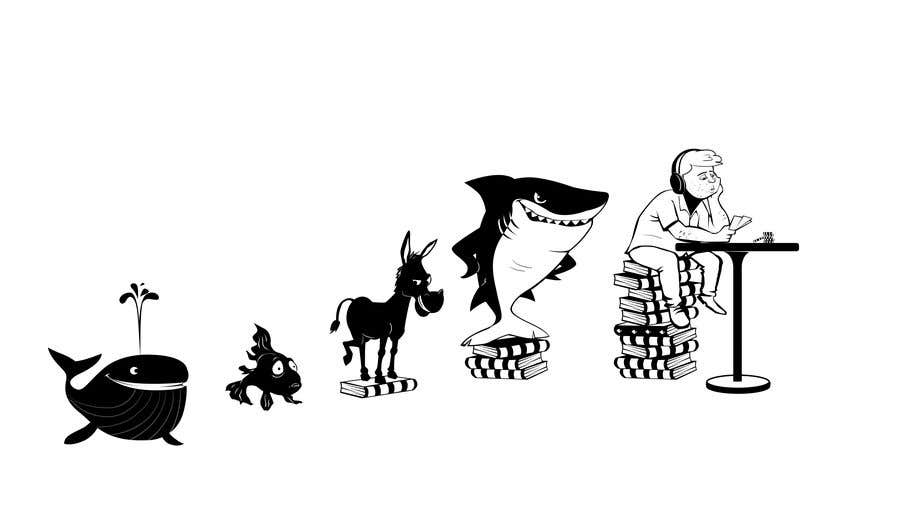 Penyertaan Peraduan #113 untuk Illustration for T-Shirt: Evolution of a Poker Player (From Whale to Shark to Poker Player Using a Different Animals)