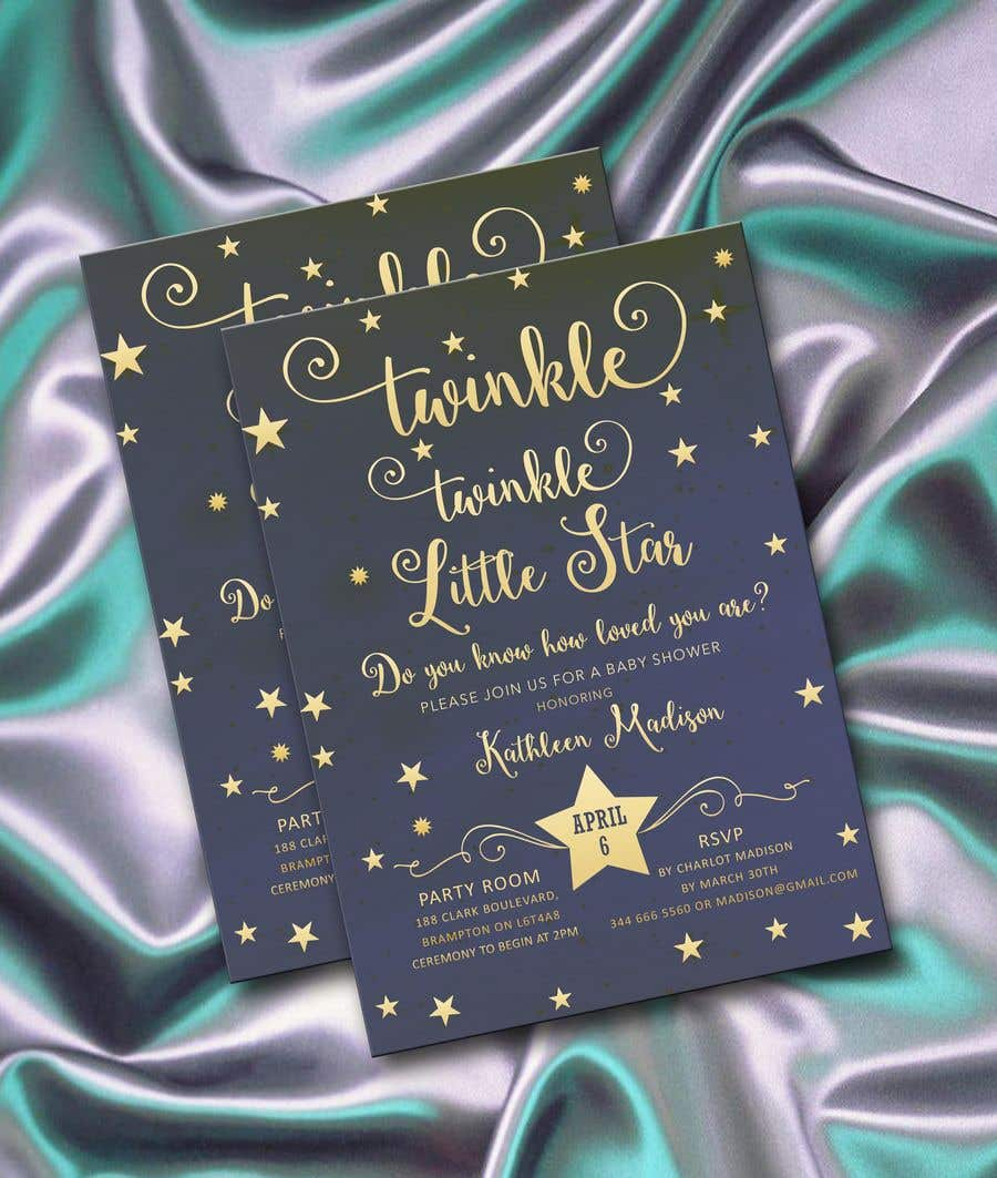 Penyertaan Peraduan #17 untuk An Amazing twinkle twinkle little star baby shower invitation