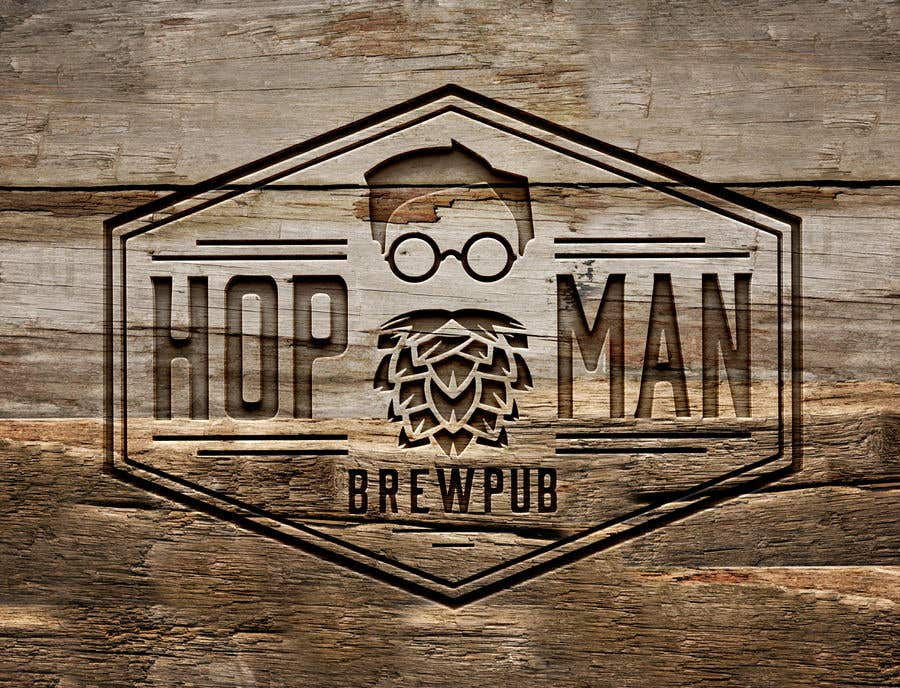 """Intrarea #20 pentru concursul """"As you can see, we have a logo, but we need to change the slogan of it and some words. Instead of Hop Doc  - we want it to be Hop Man. And slogan should be Brewpub. If we will like your style - we will work a lot in the future!"""""""