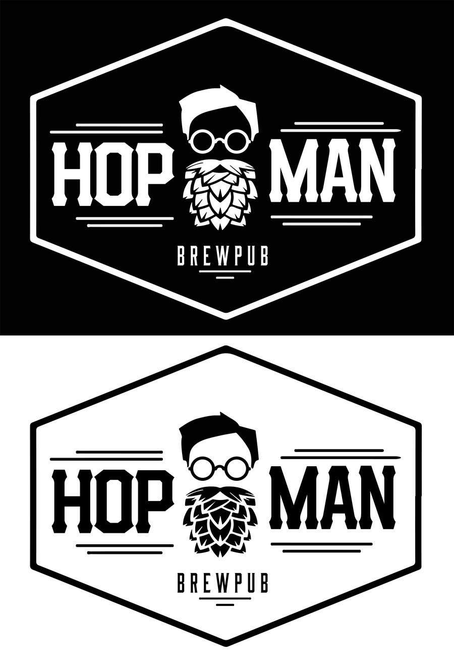 "Intrarea #29 pentru concursul ""As you can see, we have a logo, but we need to change the slogan of it and some words. Instead of Hop Doc  - we want it to be Hop Man. And slogan should be Brewpub. If we will like your style - we will work a lot in the future!"""