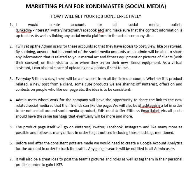 Konkurrenceindlæg #2 for Marketing plan for my business. Help me to work out a meaningful project description. NO SEO