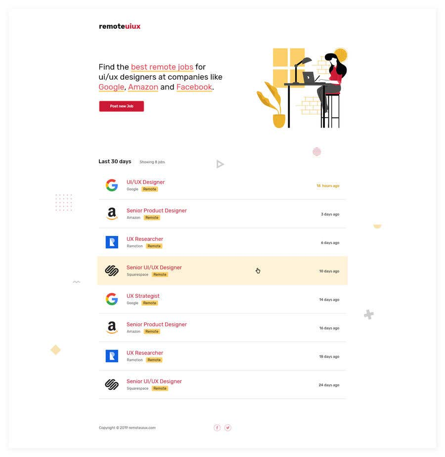 Proposition n°26 du concours Design a remote jobs board for UI and UX designers