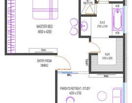 #14 for Redesign floor plan of parents retreat including bathroom, study and walk in wardrobe af archazim