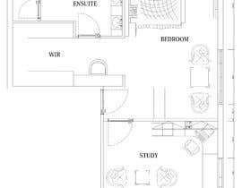 #43 for Redesign floor plan of parents retreat including bathroom, study and walk in wardrobe af mstfdnz