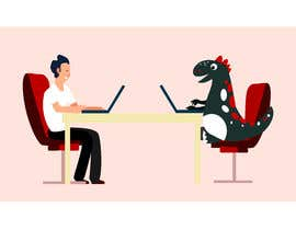 #77 cho Need an illustration of a man working at a desk with a dinosaur bởi zaeemiqbal
