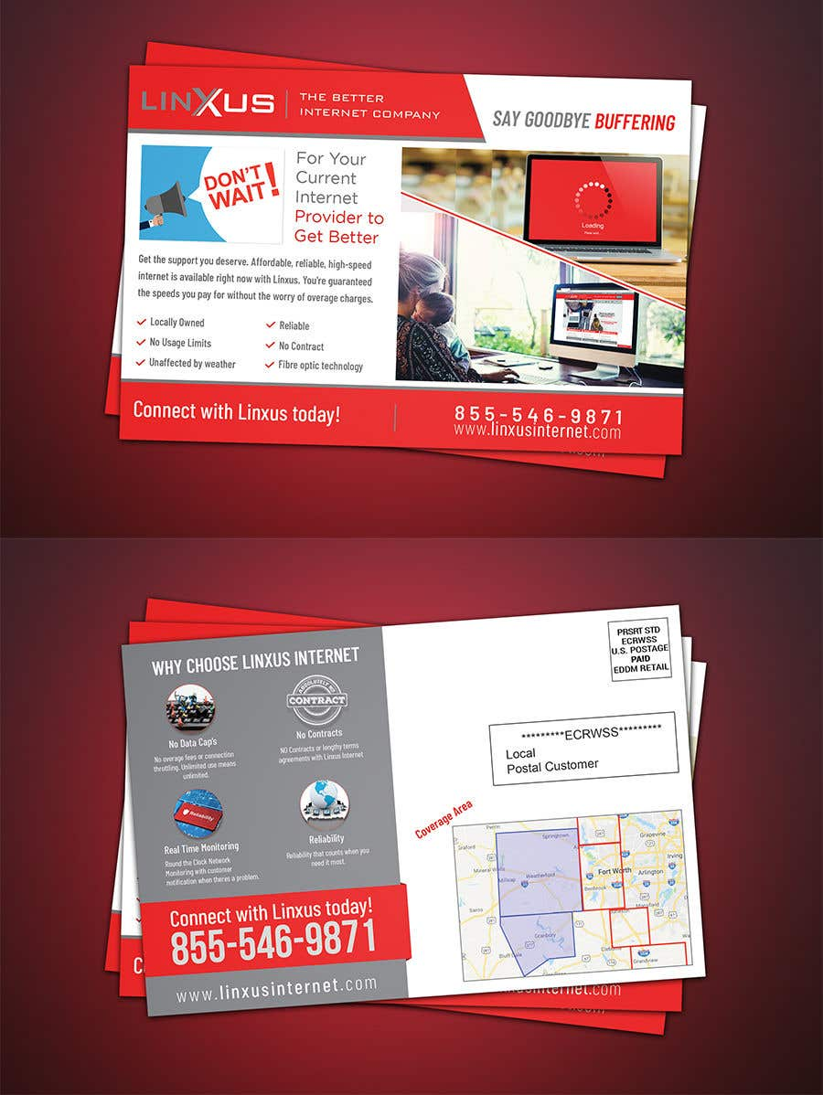 Penyertaan Peraduan #36 untuk Create a stunning and mind blowing new marketing postcard for our Rural Internet Service