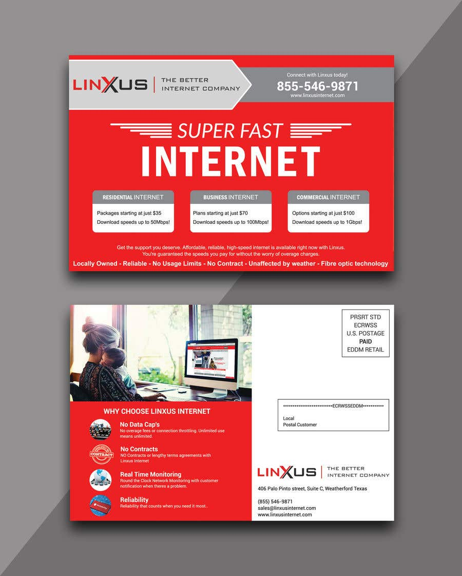 Penyertaan Peraduan #31 untuk Create a stunning and mind blowing new marketing postcard for our Rural Internet Service