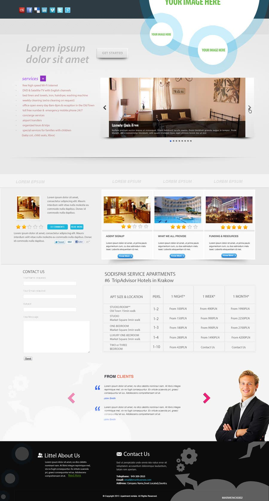 Kilpailutyö #                                        3                                      kilpailussa                                         WordPress responsive one page website for Apartment rentals