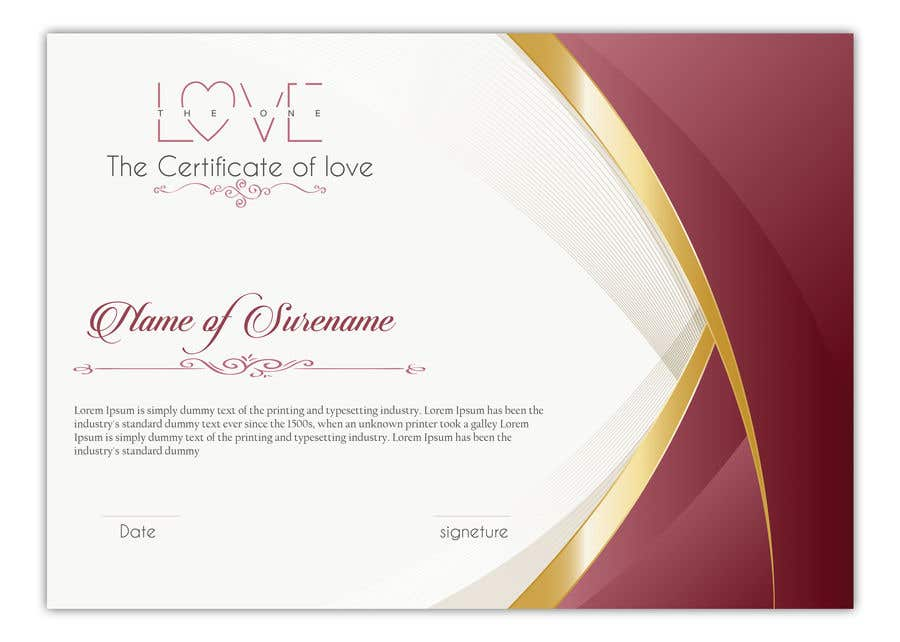 Konkurrenceindlæg #8 for design a love certificate template with my logo