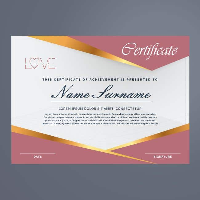 Contest Entry #2 for design a love certificate template with my logo
