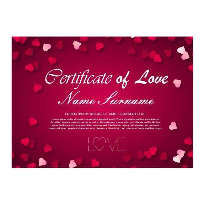 Kilpailutyö #23 kilpailussa design a love certificate template with my logo