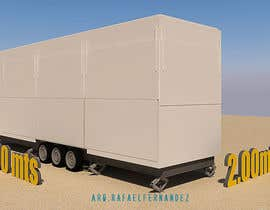#15 для I need an approximate layout of a trailer converted into a bar. The trailer is 8m x 2.1m. Must have a bar for serving drinks and seating area. Designer can send the layout, front view, side view or possibly 3d model. от arqfernandezr