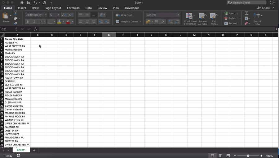 Konkurrenceindlæg #7 for separate cityy and state into different cells in excel