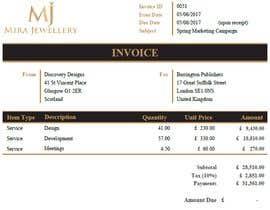 #39 para Create a Branded Excel Invoice for a Jewellery Company por zrliton