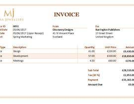 #24 for Create a Branded Excel Invoice for a Jewellery Company af sahanchatu