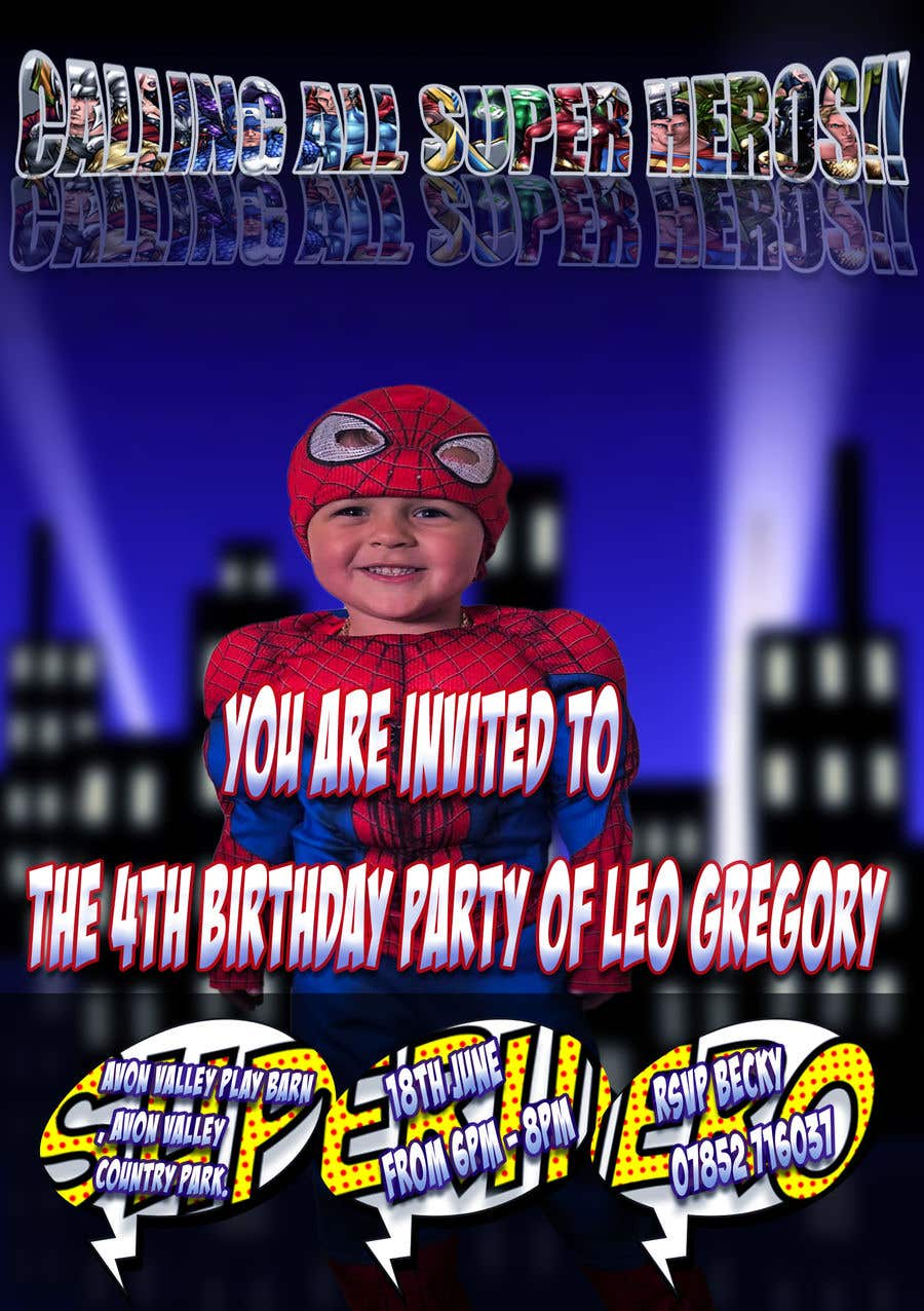 Proposition n°35 du concours Create a superhero theme birthday invite