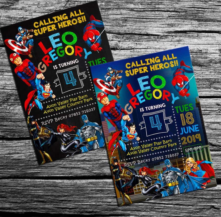 Proposition n°55 du concours Create a superhero theme birthday invite