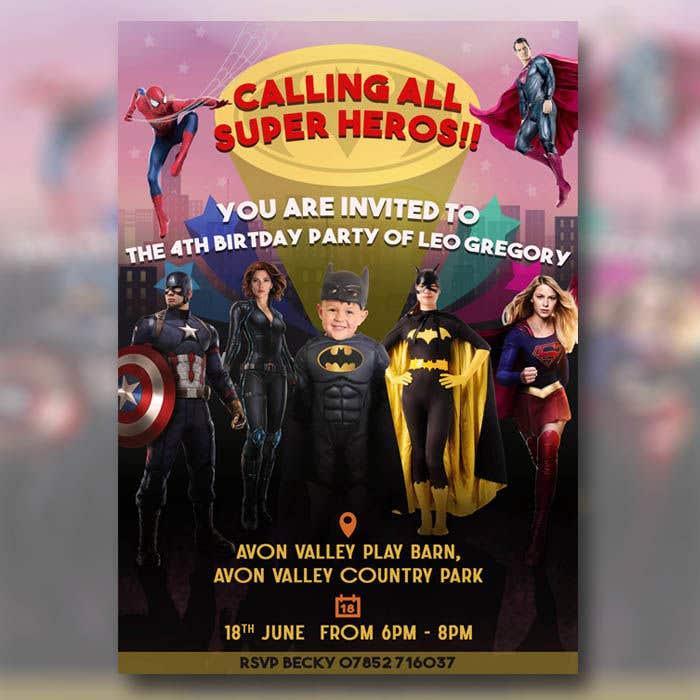 Proposition n°63 du concours Create a superhero theme birthday invite