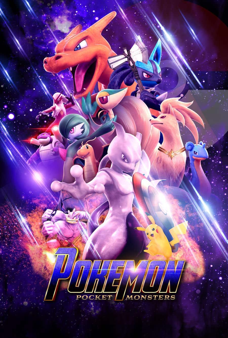 Конкурсная заявка №13 для Create a Pokemon x Avengers Mashup Movie Poster