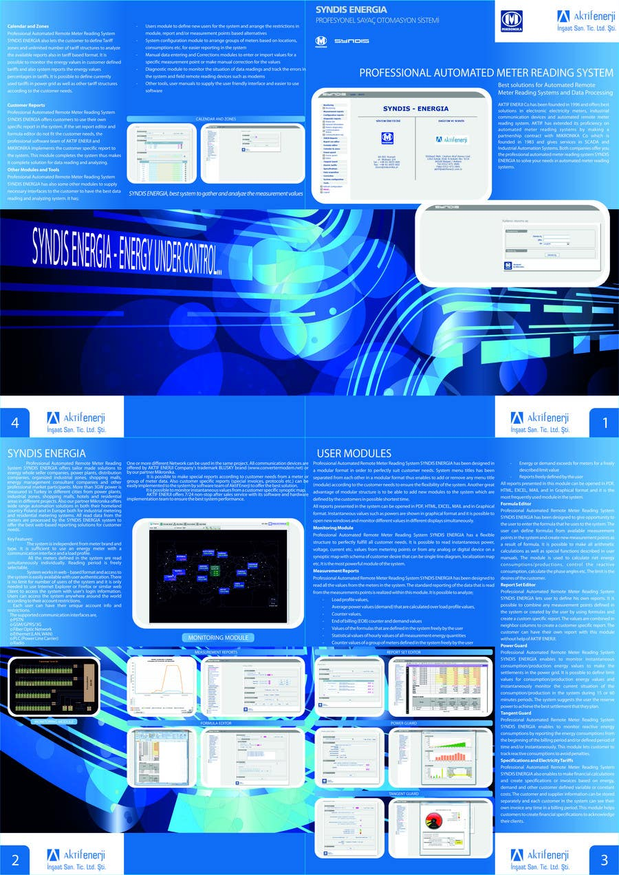 Contest Entry #1 for Brochure Design for Telemetry System Software