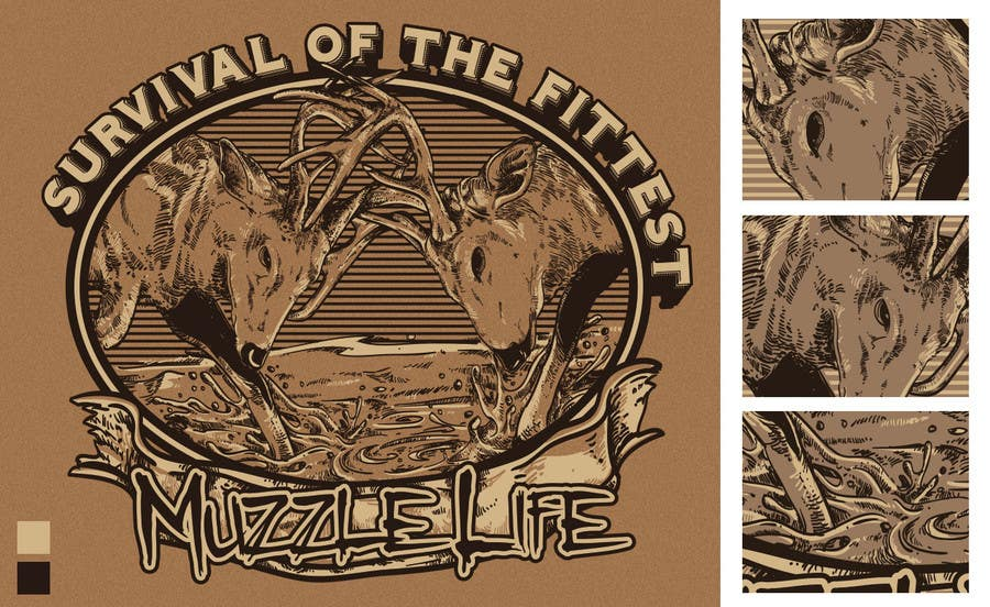 Konkurrenceindlæg #15 for T-shirt Design for Muzzle Life - Featuring two Buck Deer's in Battle!