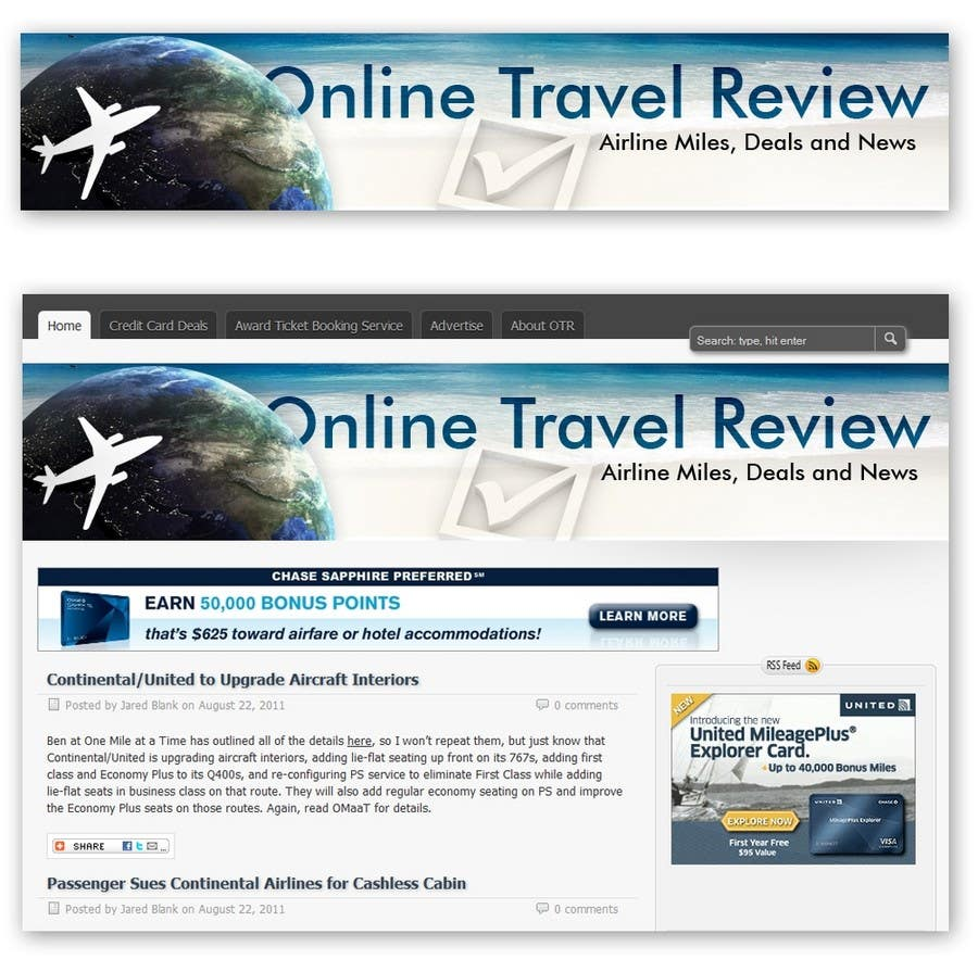 #56 for Create a Site Header for Travel Blog by danmandiuc