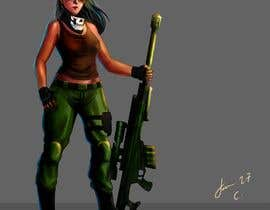 nº 19 pour Female soldier character illustration with background par jasongcorre