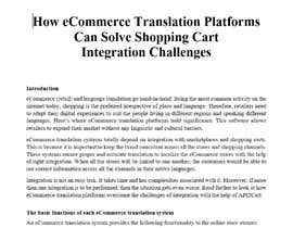 "Nro 9 kilpailuun Writing an article on the topic ""How eCommerce Translation Platforms Can Solve Shopping Cart Integration Challenges"" käyttäjältä jiyaaa12345"