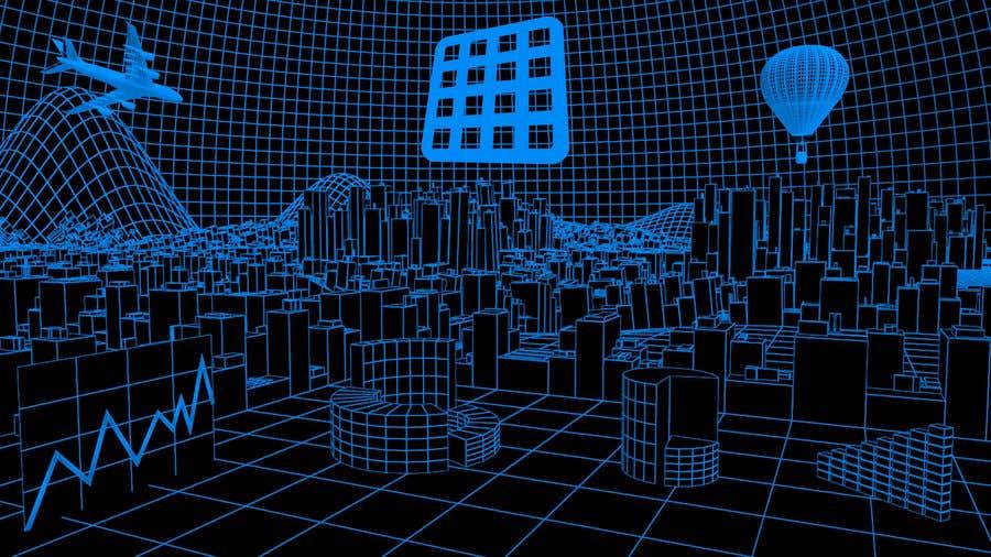 Konkurrenceindlæg #7 for Sketch of 3d grid landscape with field of data
