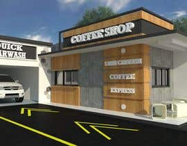 nº 25 pour Exterior design of a coffee kiosk combined with car wash par toramannnnn
