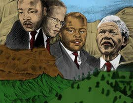 Nro 3 kilpailuun This is a image featuring, Marcus Garvey, Nelson Mandela, Martin Luther king and Malcolm X. I would please like a similar image in colour with the logo also incorporated käyttäjältä Fittiani