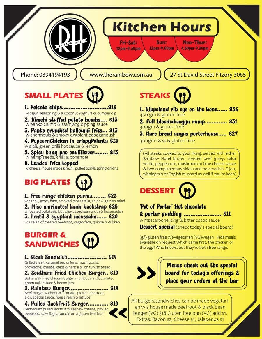 Kilpailutyö #16 kilpailussa I need a graphic designer to re-design our menu