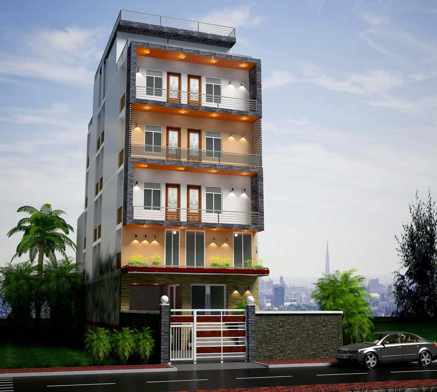 Design exterior of luxury apartment building choose color - Exterior materials for buildings ...