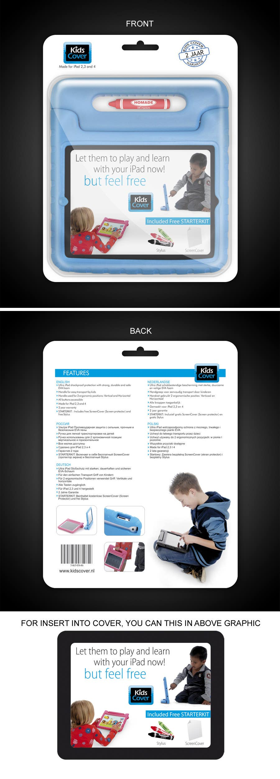 Konkurrenceindlæg #                                        4                                      for                                         Packaging Design for Shockproof Kids iPad Case