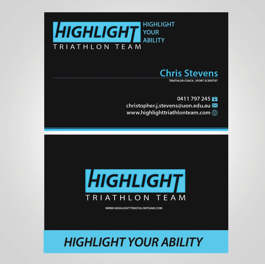Konkurrenceindlæg #                                        50                                      for                                         Business Card Design for Highlight Triathlon Team